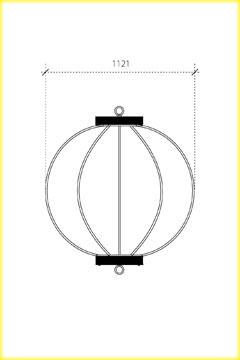 屋外用丸型鉄筋ぼんぼり提灯・和紙調 35号相当(W1120)