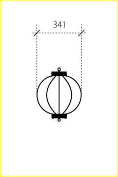 屋外用丸型鉄筋ぼんぼり提灯・和紙調 13号相当(W340)