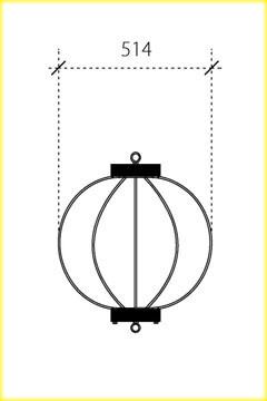 屋外用丸型鉄筋ぼんぼり提灯・和紙調17号相当(W510)