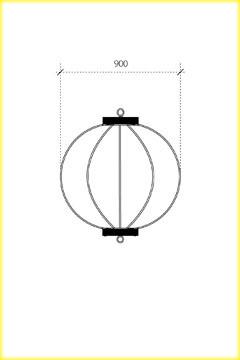 屋外用丸型鉄筋ぼんぼり提灯・和紙調 30号相当(W900)